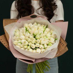 Buchet de lalele albe tulip fantasy