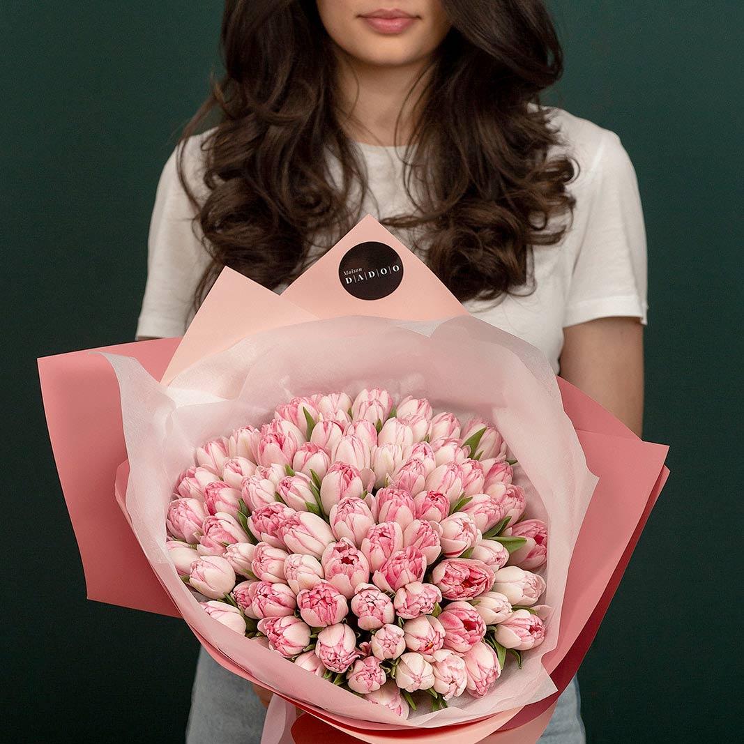 buchet flori comanda online Buchet Lalele roz maison dadoo