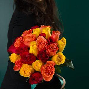 Buchet Trandafiri Multicolor Aprins